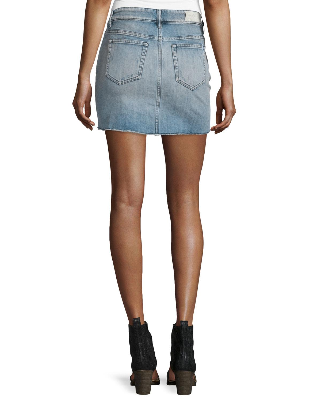 iro chicago stretch denim mini skirt in blue lyst