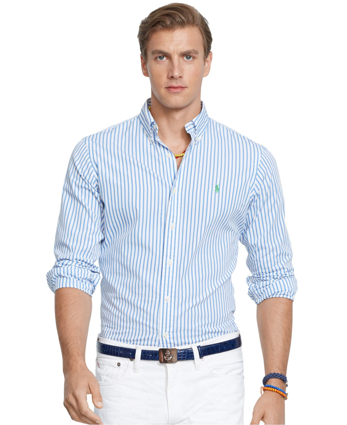5ed8eb6042 Polo Ralph Lauren Striped Poplin Shirt in Blue for Men - Lyst