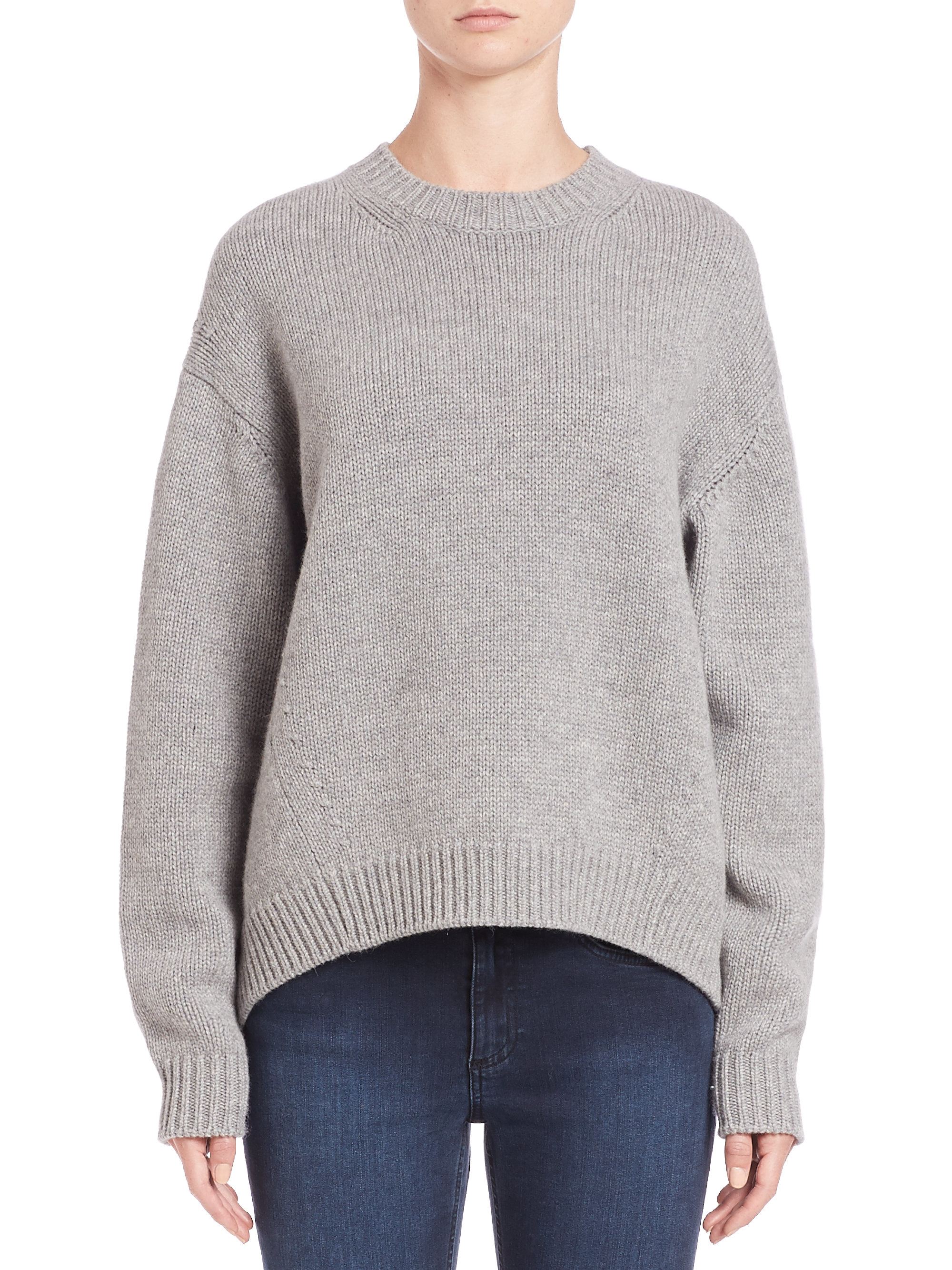 lyst acne studios crewneck wool sweater in gray. Black Bedroom Furniture Sets. Home Design Ideas