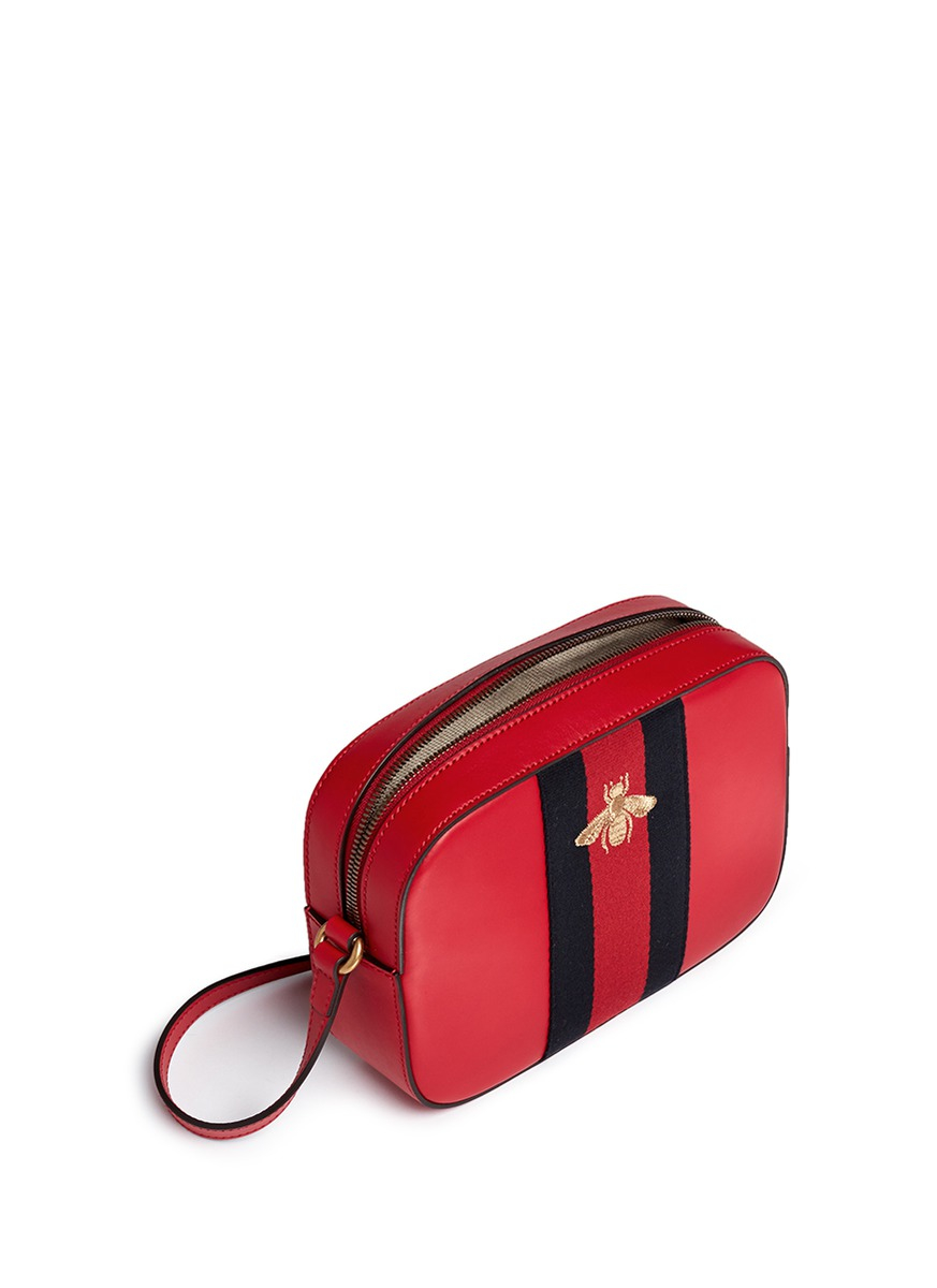 75b982bf2 Lyst - Gucci  webby  Bee Embroidery Web Leather Crossbody Bag in Red