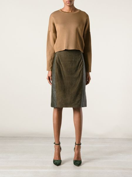 raoul leather and suede pencil skirt in green lyst