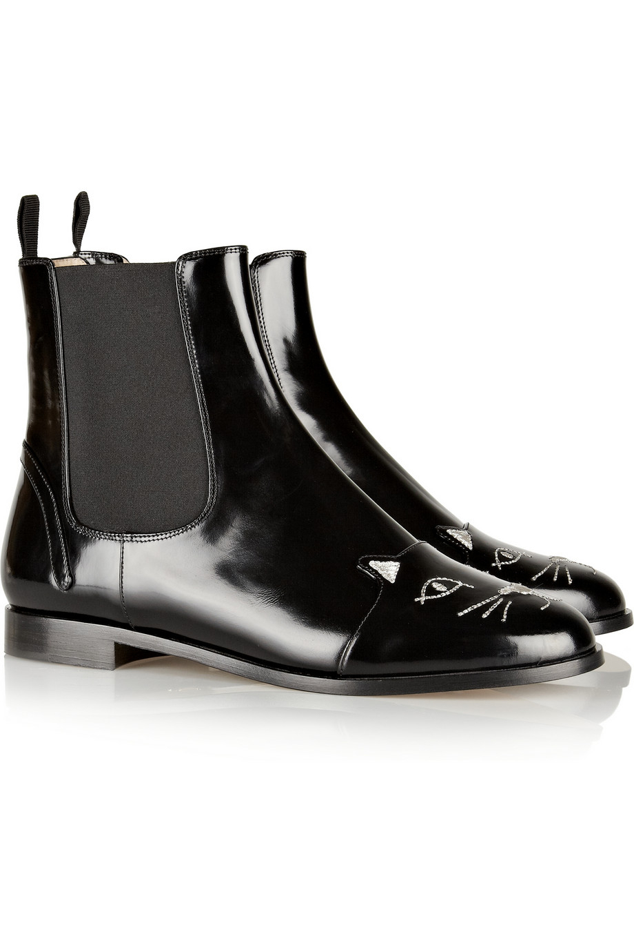 Charlotte Olympia Chelsea Cat Glossedleather Ankle Boots in Black