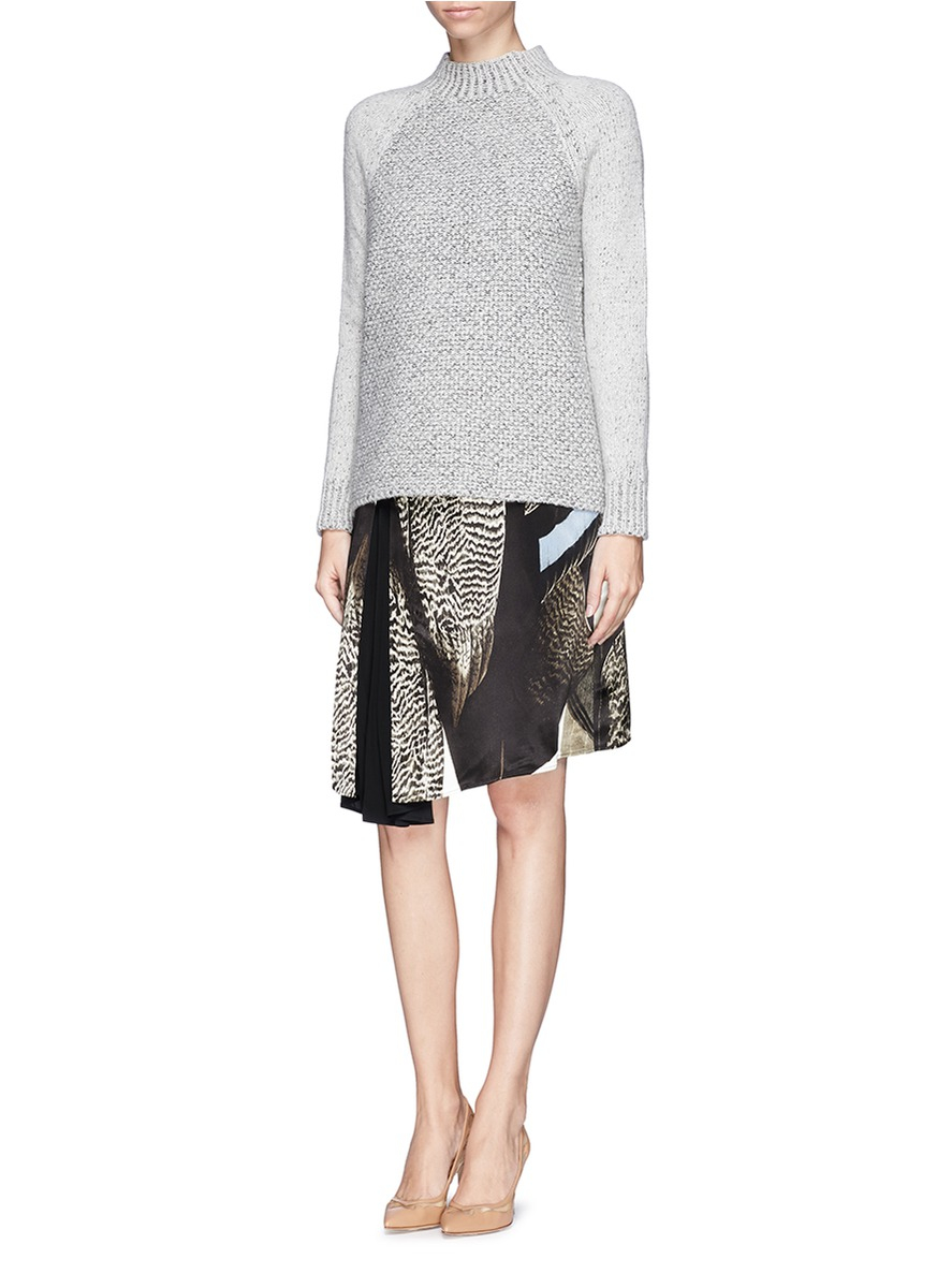 Reed krakoff Asymmetric Pleat Bird Print Satin Skirt