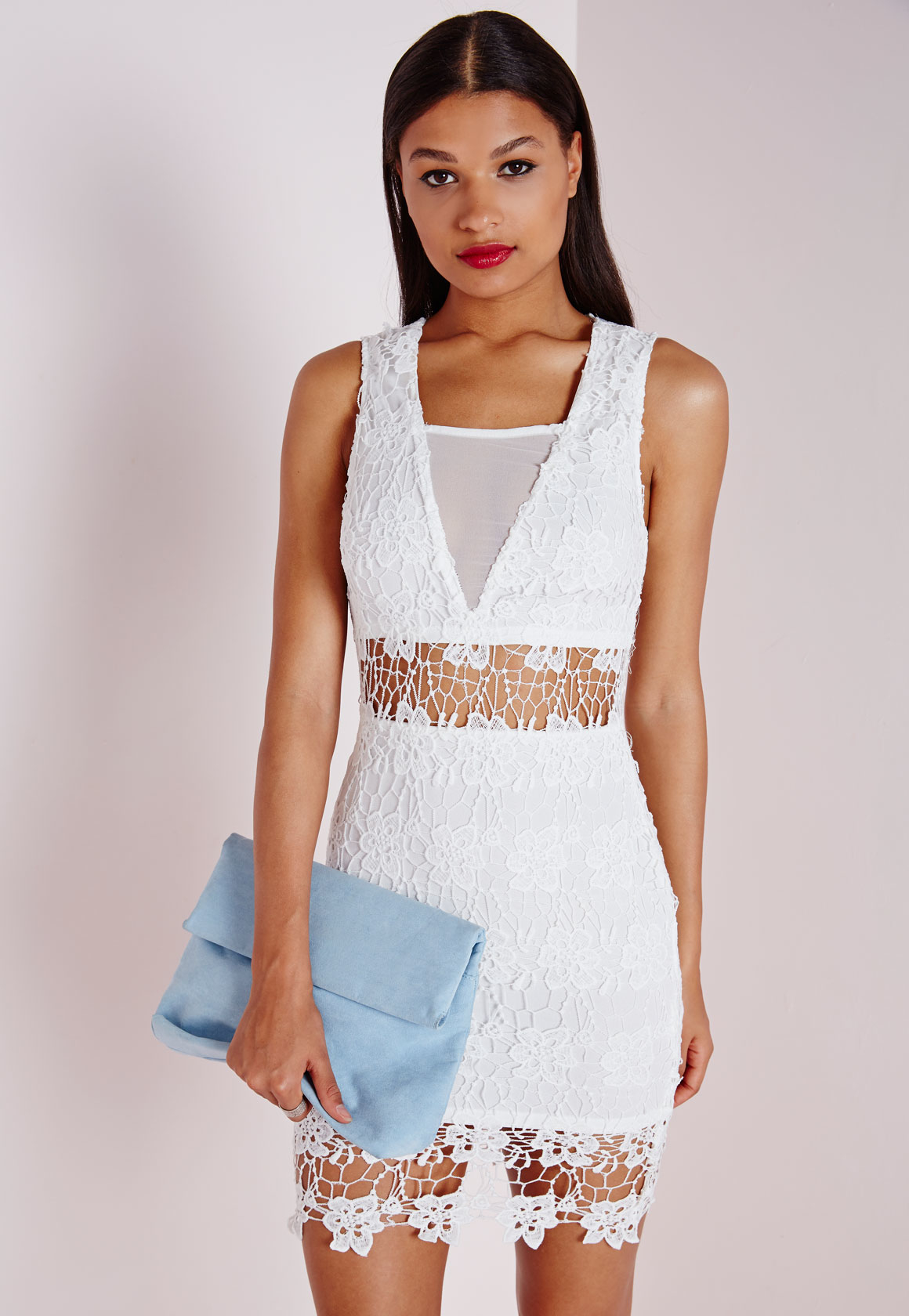 High neck lace cut out bodycon dress