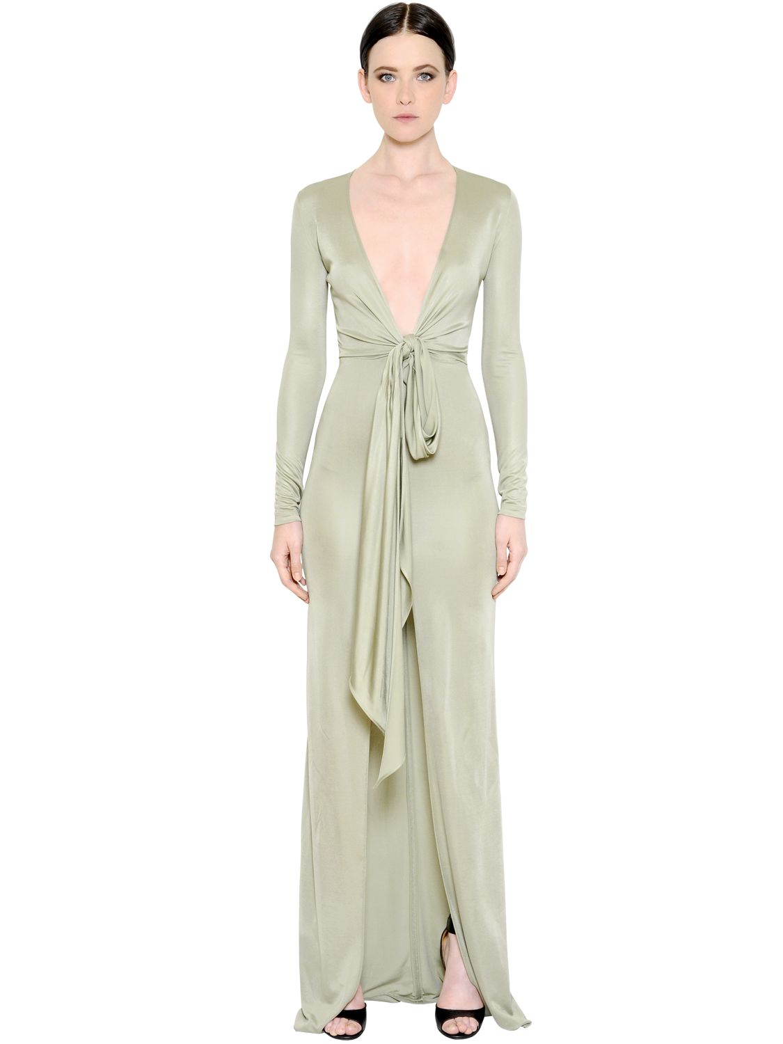 b9103ecb41b87 Lyst - Givenchy Fluid Viscose Jersey Dress With Knot in Green