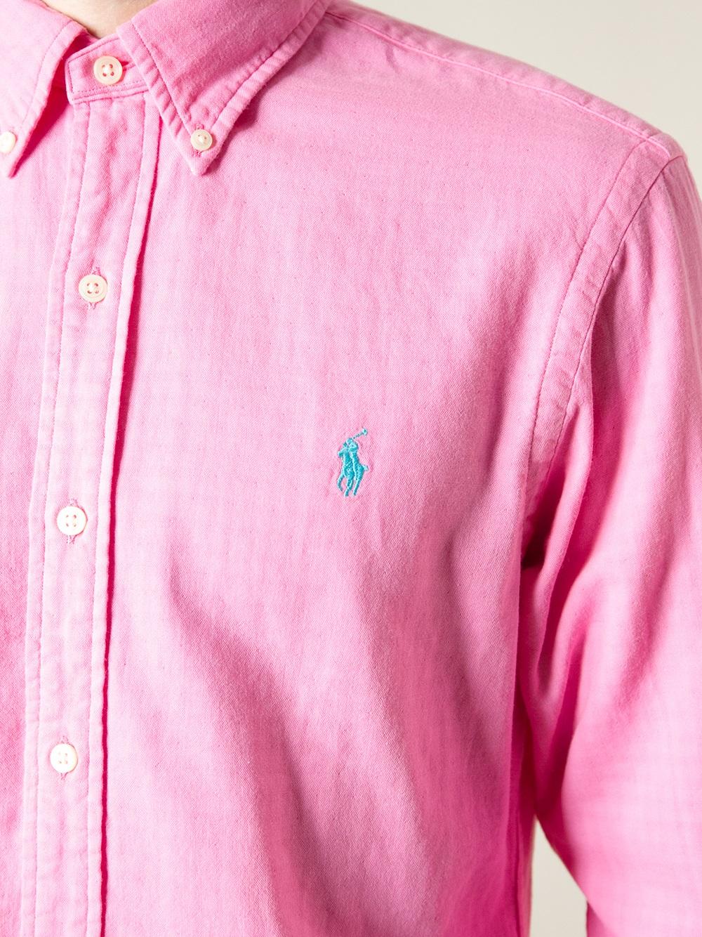 Polo ralph lauren Button Down Shirt in Pink for Men | Lyst