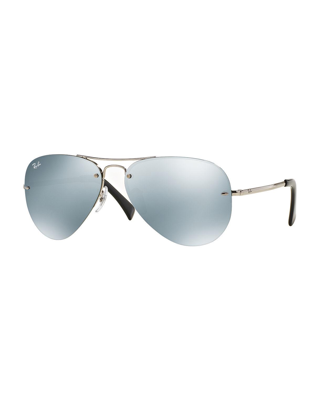 Ray-ban Mens Semi-rimless Aviator Sunglasses in Metallic ...