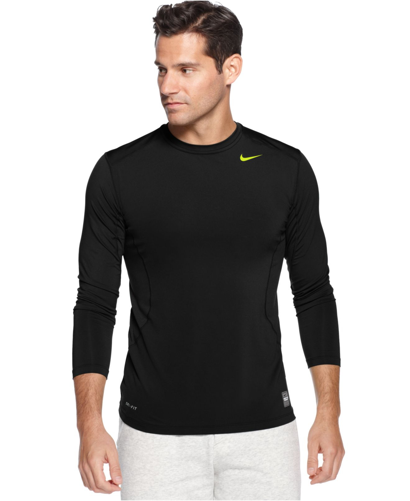 Lyst nike pro combat dri fit fitted long sleeve tee in for Fitted shirts for mens