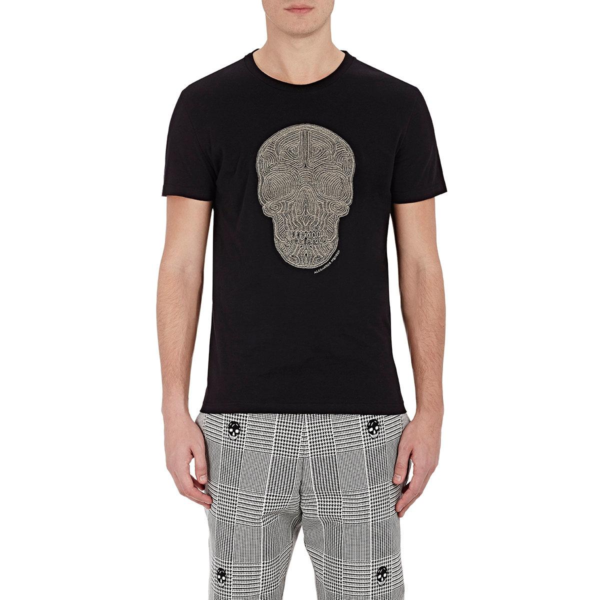 30acd445 Alexander McQueen Men's Skull-embroidered T-shirt in Black for Men ...
