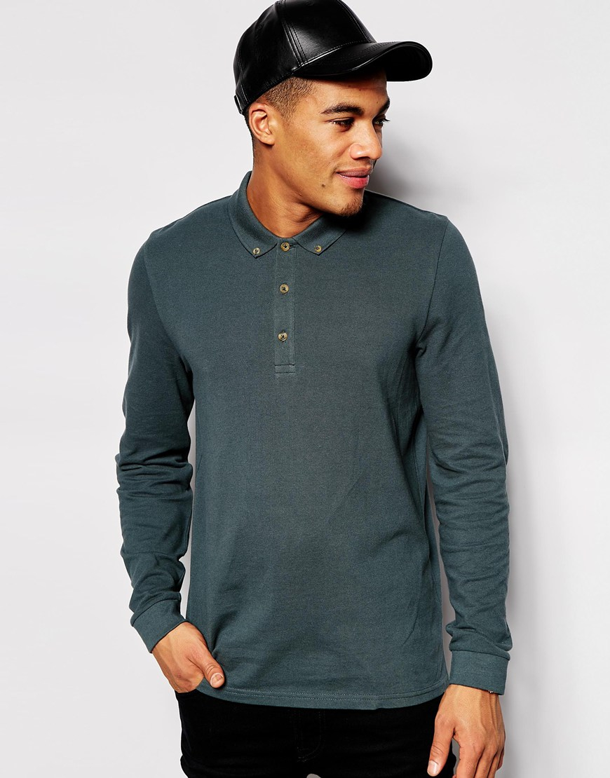 Lyst Asos Polo Shirt With Long Sleeves In Pique In Green