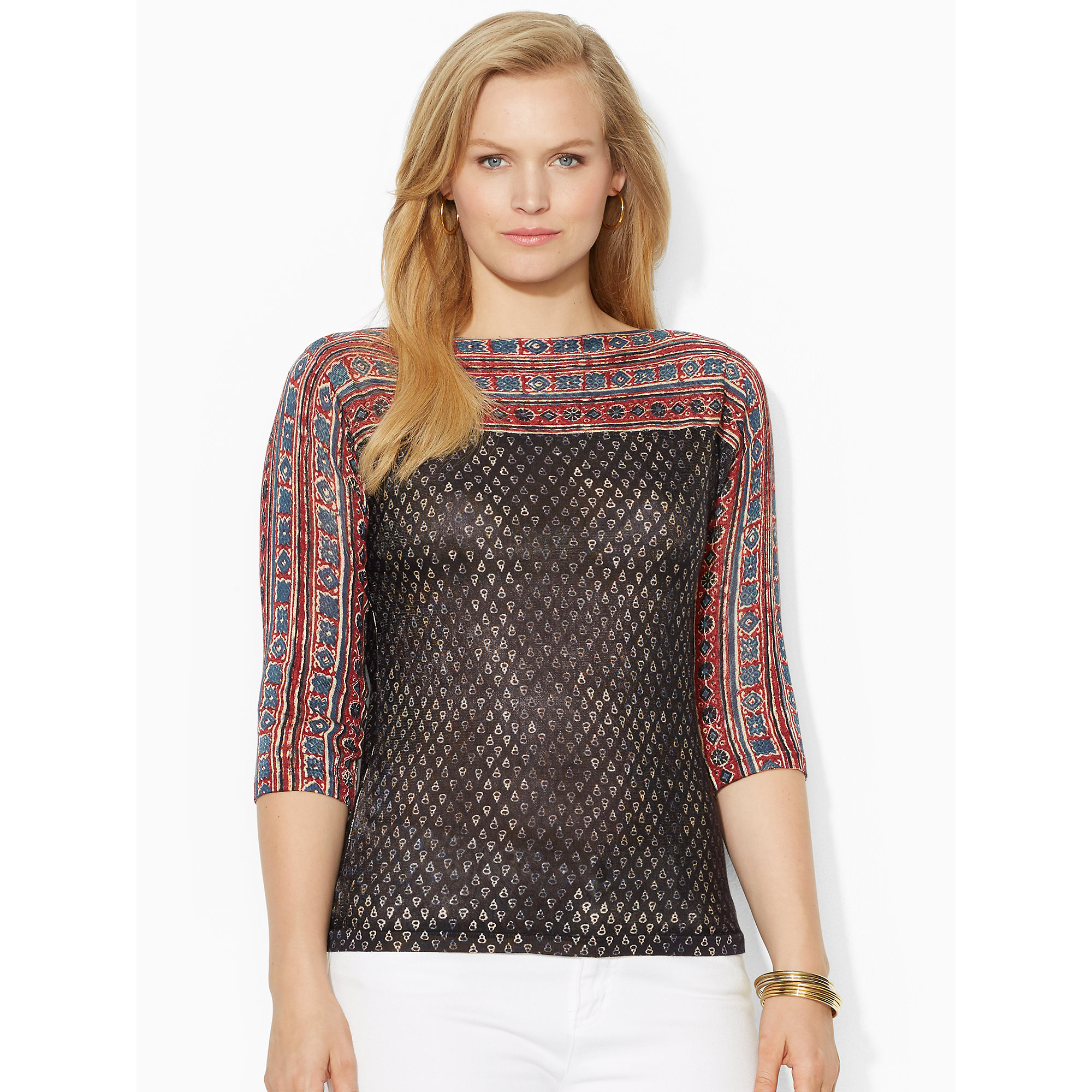 Lyst - Ralph Lauren Geometric Boatneck Sweater