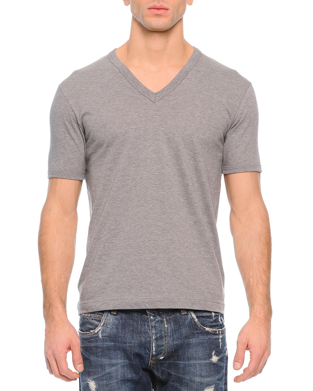 Dolce gabbana basic v neck t shirt in gray for men lyst for Dolce gabbana t shirt women