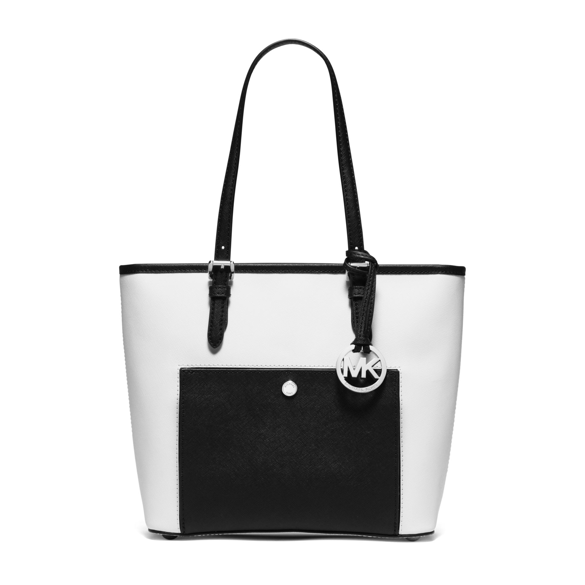 16afcf8f7346 ... get lyst michael kors jet set travel medium saffiano leather tote in  white 53018 610ff