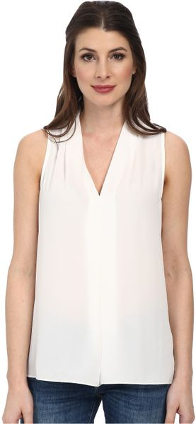 Vince Camuto Sleeveless V Neck Blouse W Inverted Front