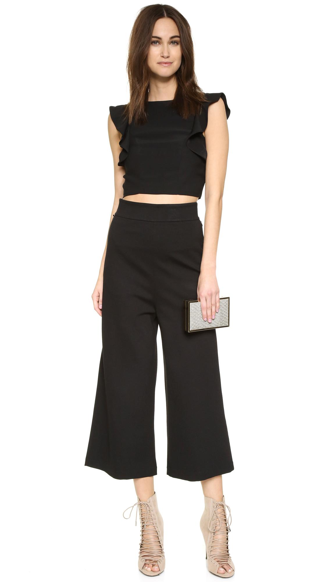 Kendall + Kylie Flutter Sleeve Crop Top In Black