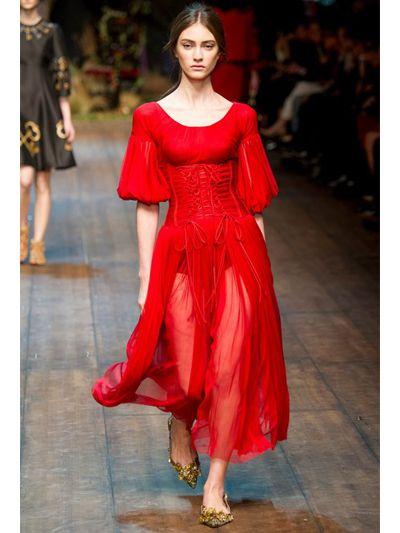 Lyst - Dolce & Gabbana Silk Tulle Bustier Dress in Red