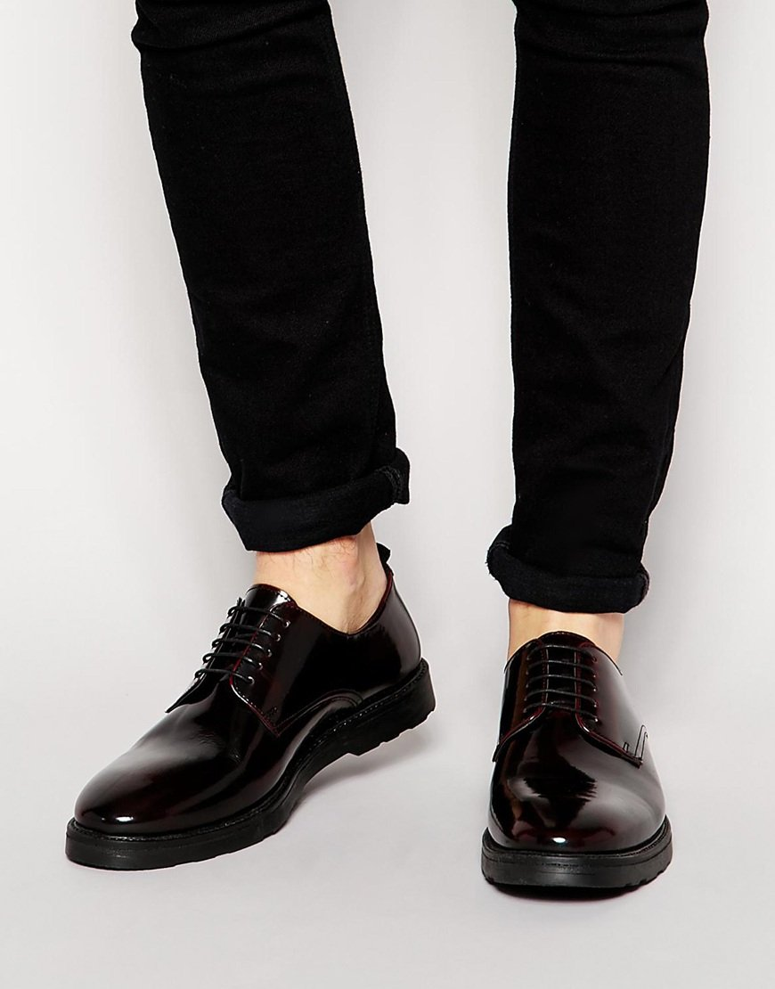 authorized site official supplier official site ASOS Derby Shoes In Leather in Burgundy (Purple) for Men - Lyst