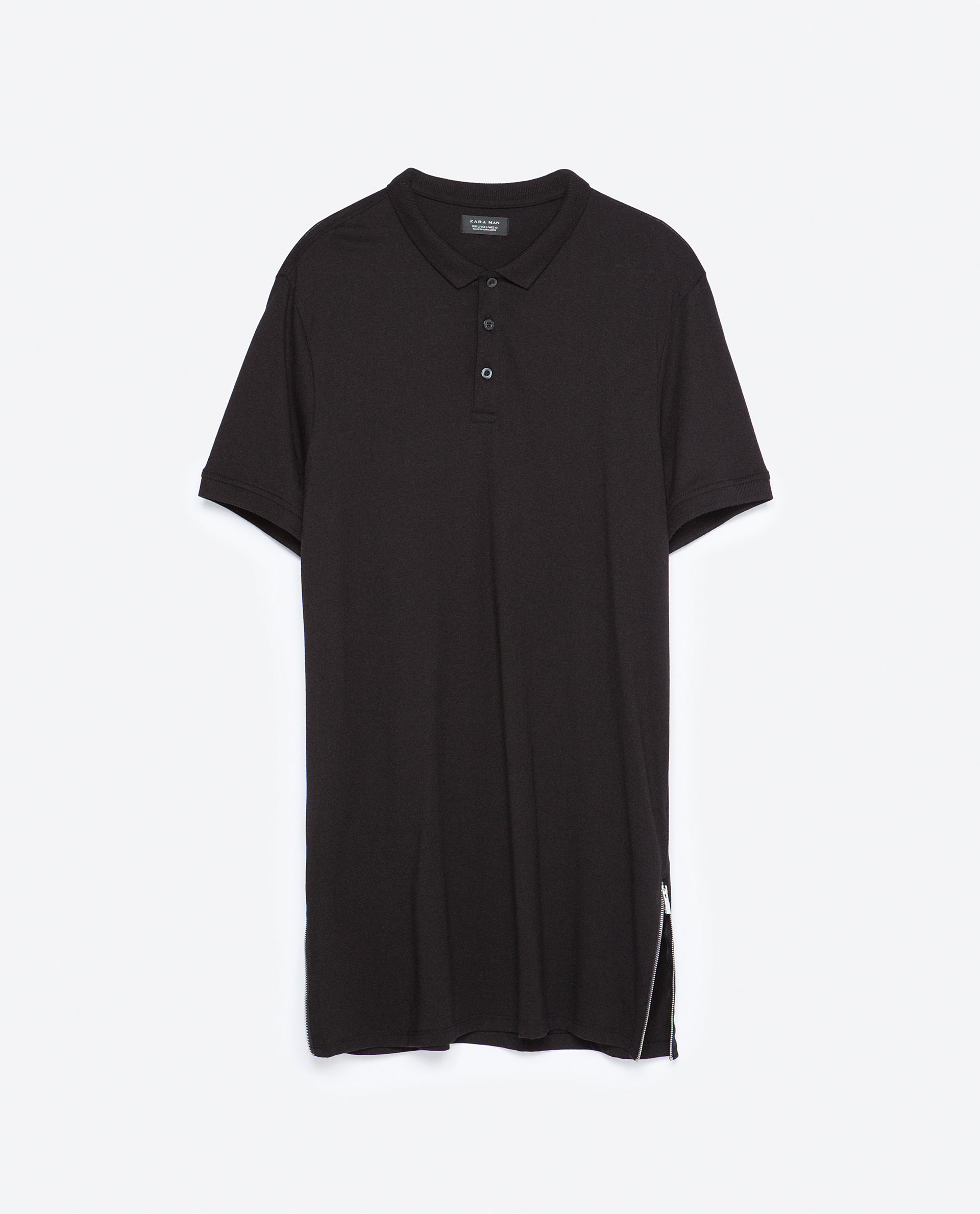 zara long length zipped polo shirt in black for men lyst
