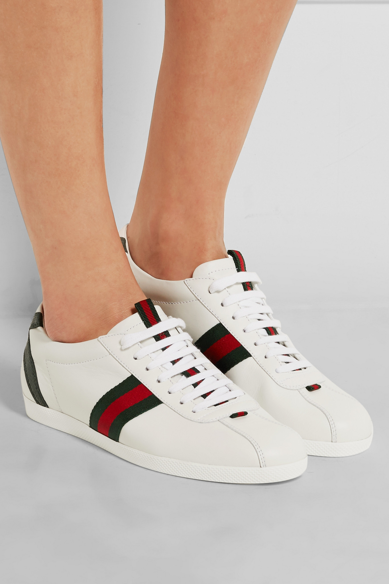 e9ffea0d447 Gucci New Ace Watersnake-trimmed Leather Sneakers in White - Lyst
