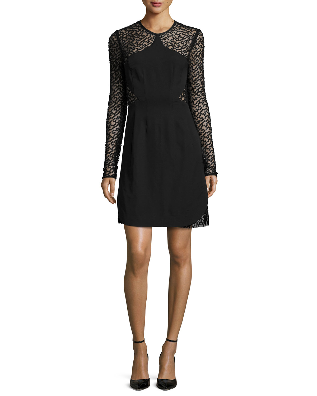 Lela rose embroidered dot mini dress in black lyst