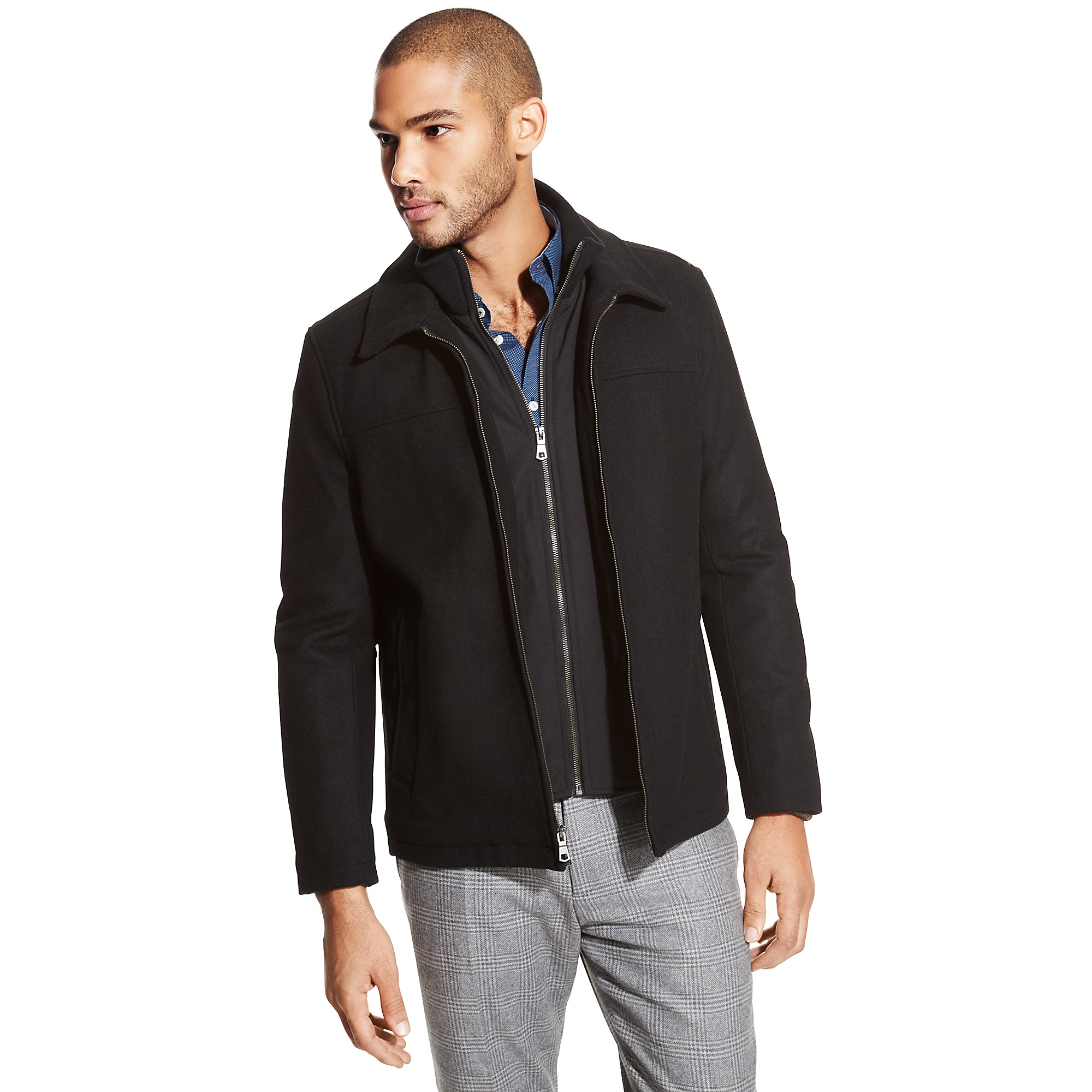 tommy hilfiger layered wool melton jacket in black for men lyst. Black Bedroom Furniture Sets. Home Design Ideas