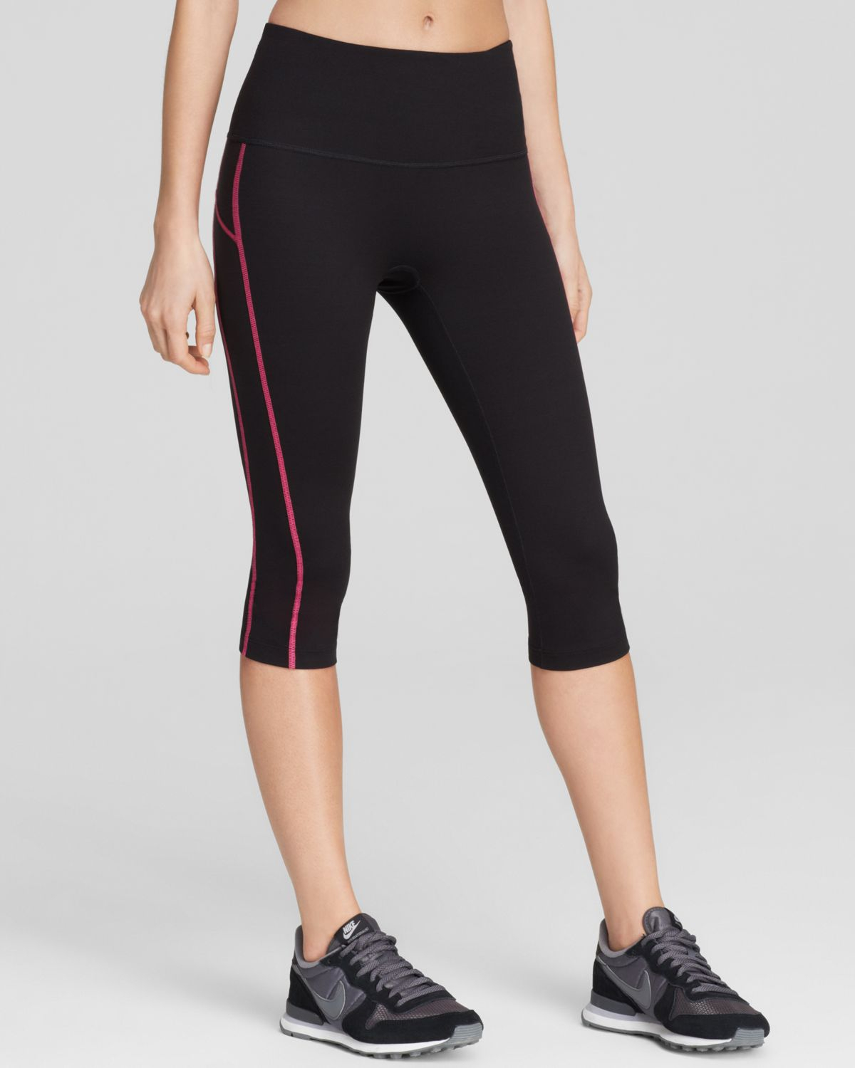 Spanx Spanx 174 Active Compression Contrast Stitch Knee Pants In Black Lyst