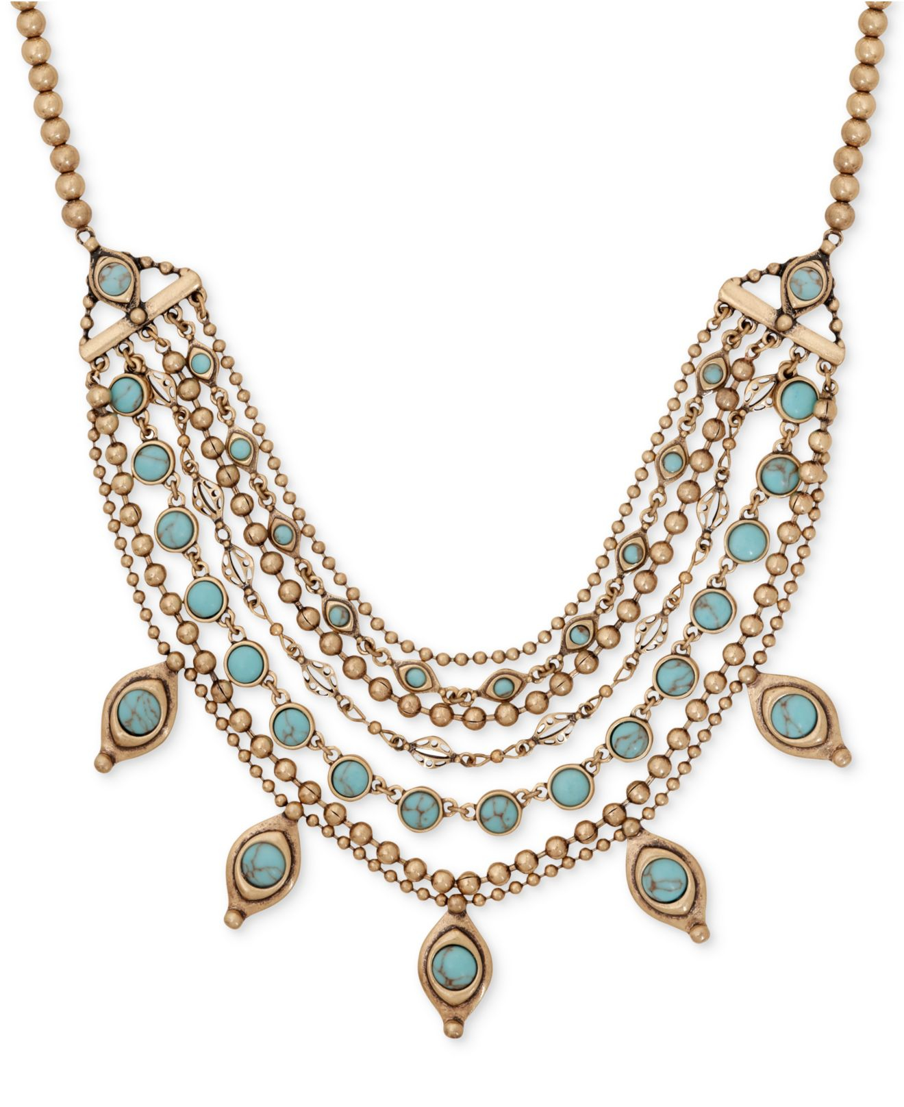 Lucky Brand Beaded Statement Necklace (Gold) Necklace mPYUWh