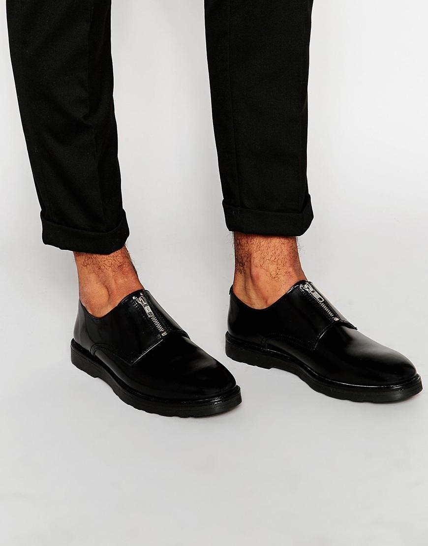 Lyst Asos Zip Shoes In Black Leather In Black For Men