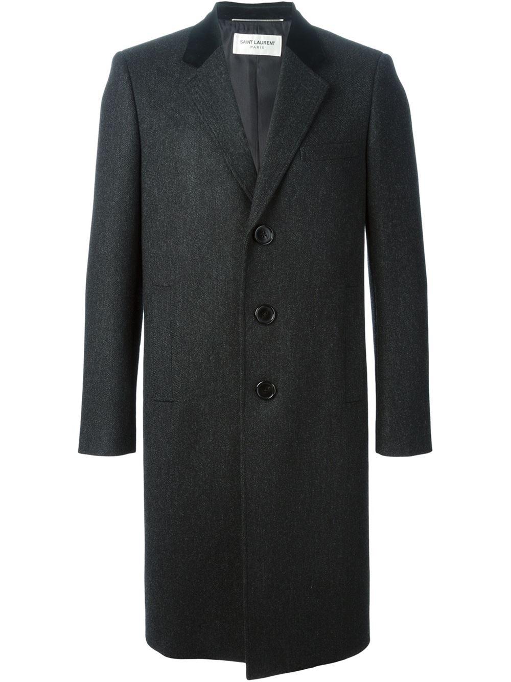Saint Laurent Classic Chesterfield Coat In Gray For Men Lyst