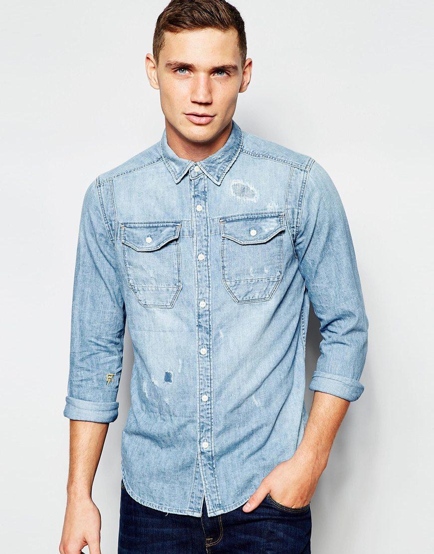 g star raw wolker denim slim fit shirt in blue for men lyst. Black Bedroom Furniture Sets. Home Design Ideas