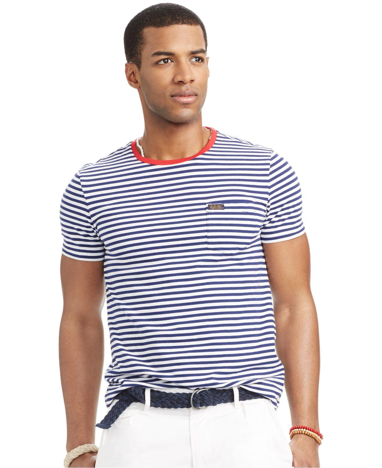 5e657790 Polo Ralph Lauren Striped Pocket T-Shirt in Blue for Men - Lyst