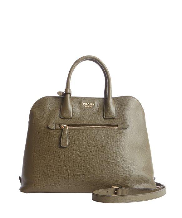 36f90daf6442 ... hot lyst prada olive green saffiano leather zip top handle bag in green  eee45 95b31