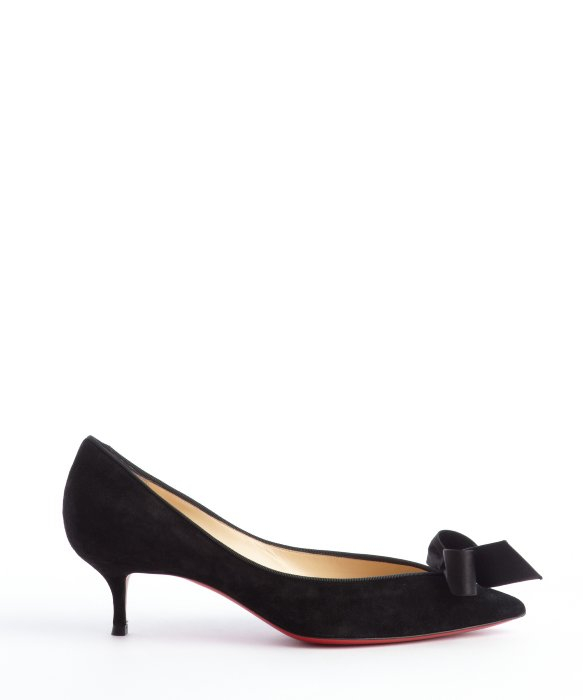 Lyst - Christian louboutin Black Suede Pointed Toe Bow Detail ...