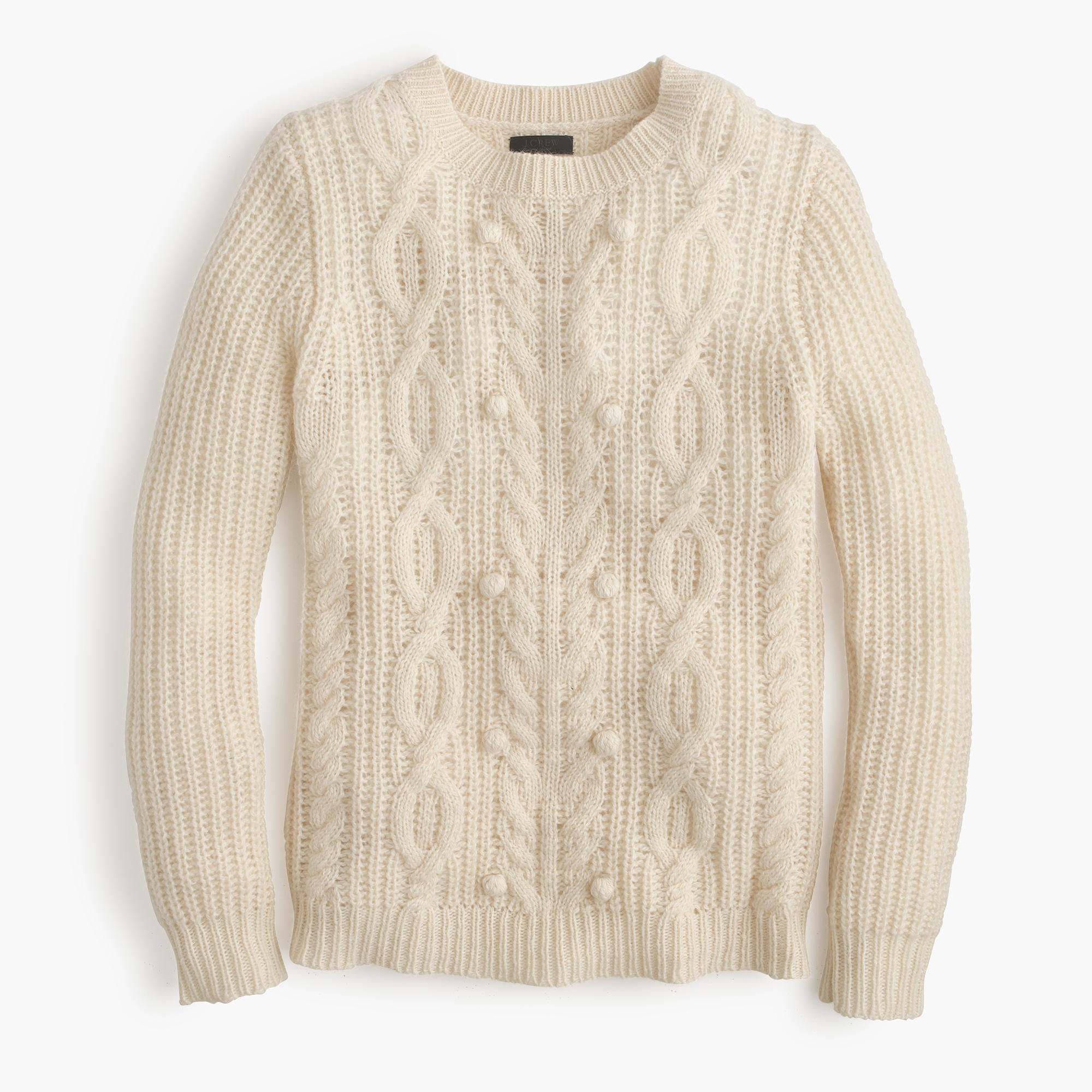 68d72a0550f64b J.Crew Italian Cashmere Cable Sweater With Pom-poms in Natural - Lyst