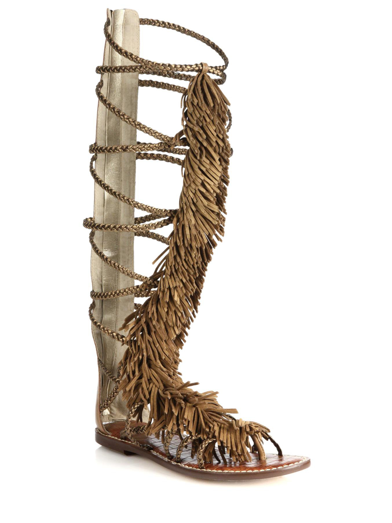 83cb56eb0 Lyst - Sam Edelman Gia Knee-High Fringed Metallic Leather Sandals in ...