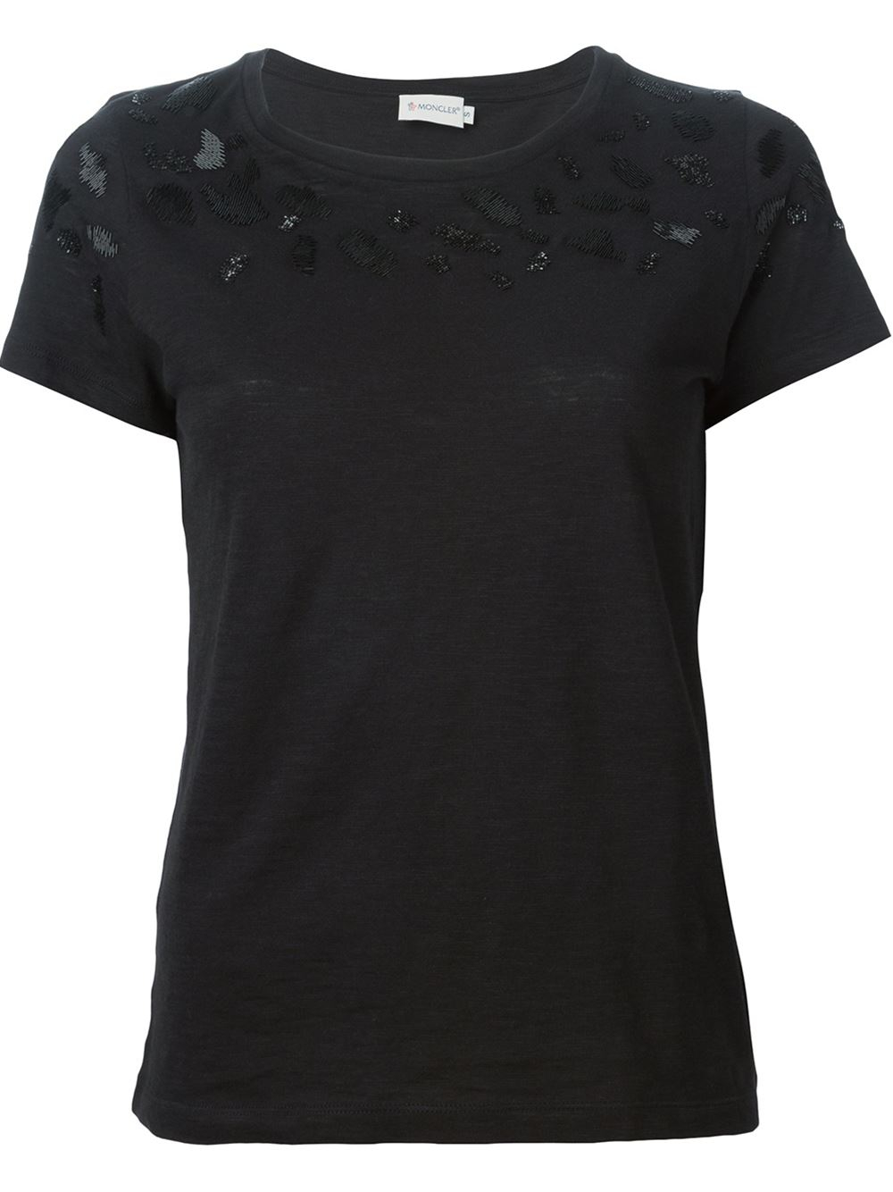 moncler beaded t shirt in black lyst. Black Bedroom Furniture Sets. Home Design Ideas