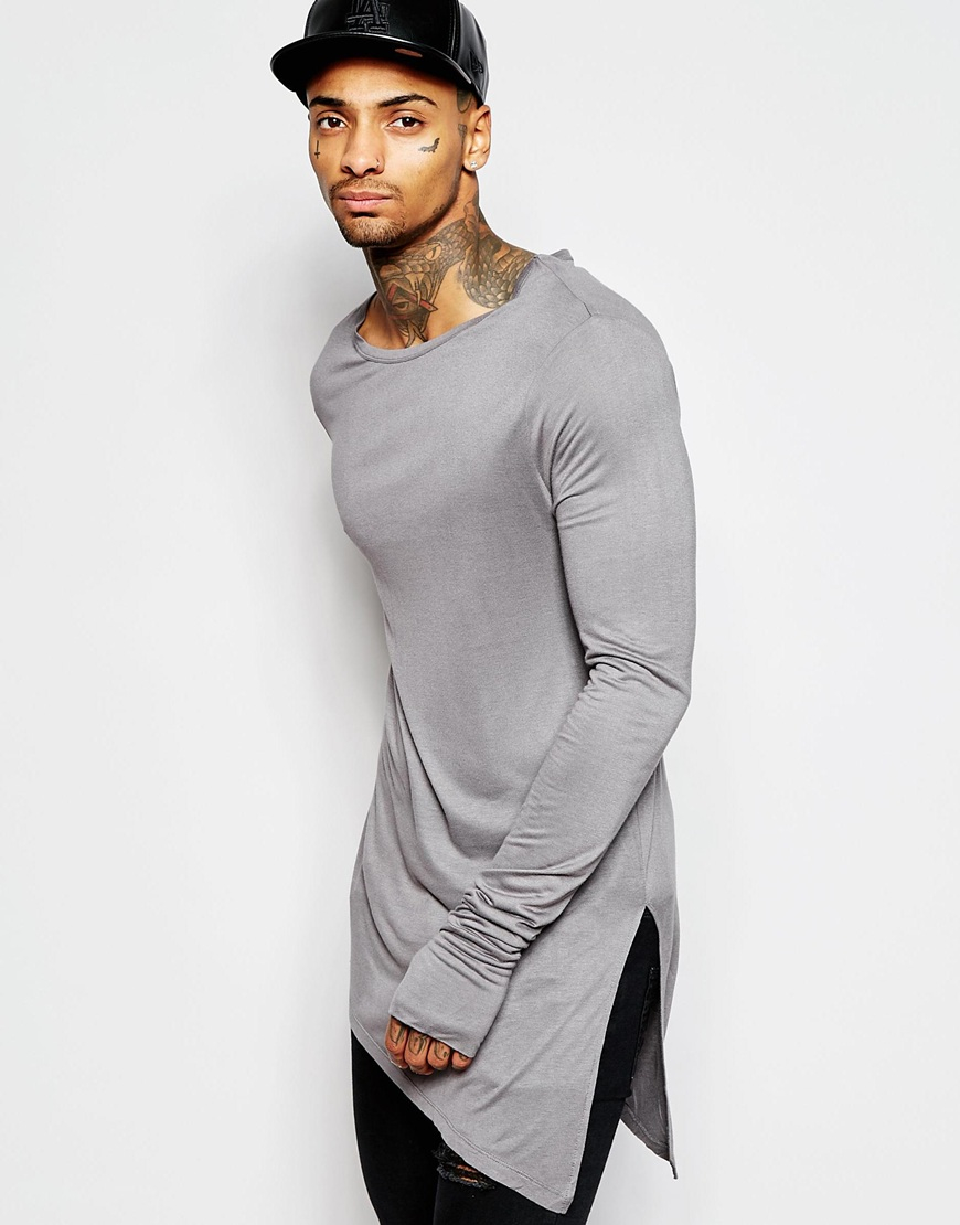 Lyst Asos Bamboo Jersey Super Longline Long Sleeve T