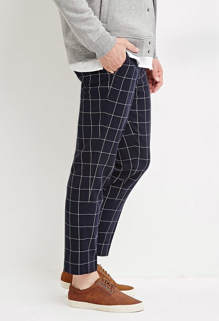 Forever 21 Slim Fit Grid Patterned Pants In Blue For Men