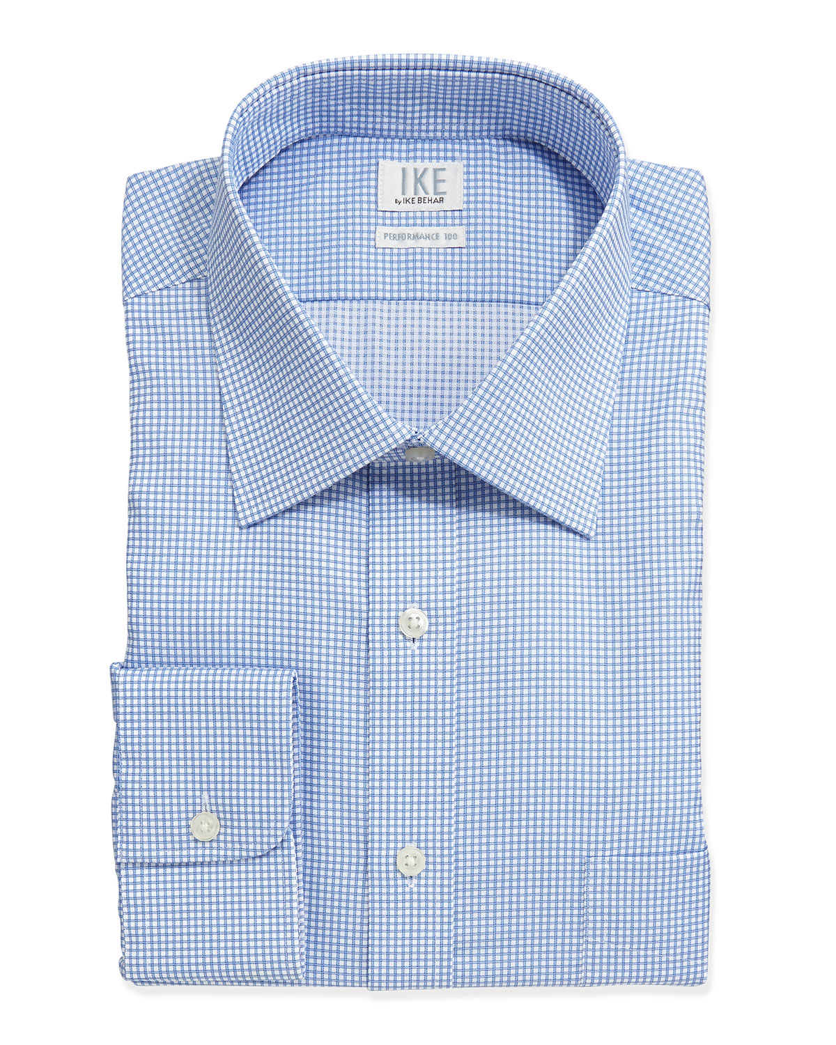 Lyst ike behar check poplin dress shirt in blue for men for Blue check dress shirt