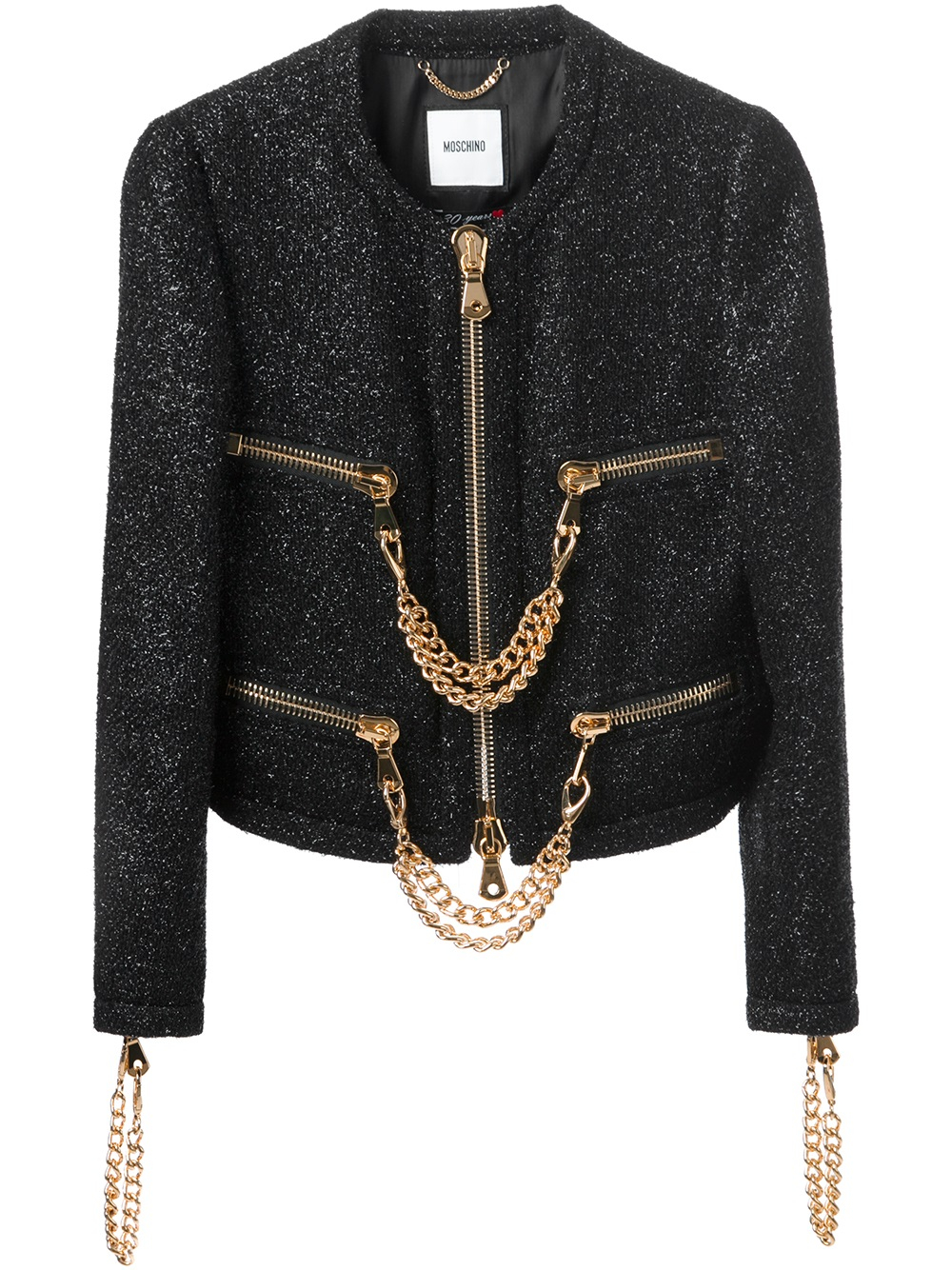 Moschino Quilted Leather Jacket in Black