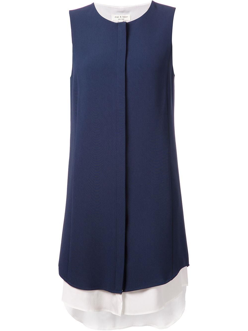 rag bone long tail shirt dress in blue lyst