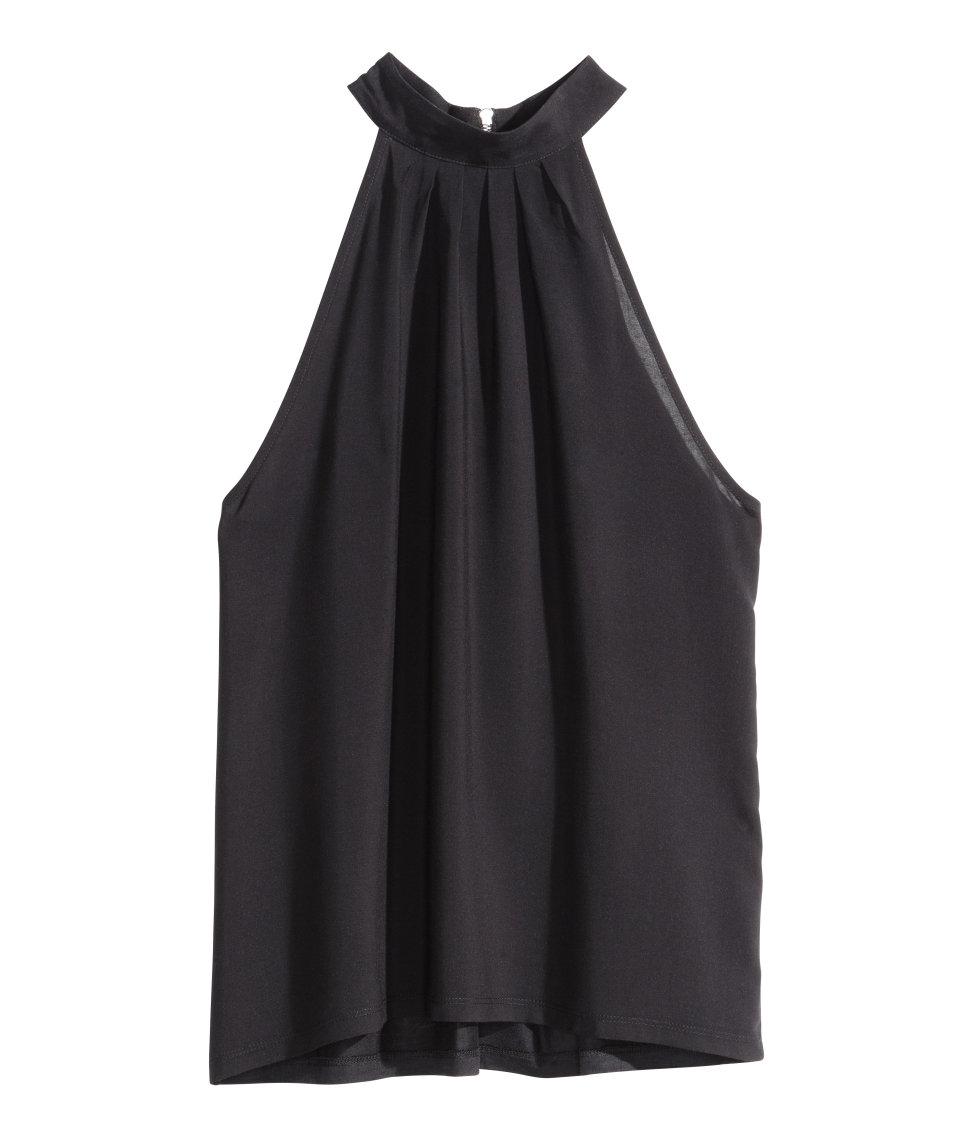 H&M Halterneck Top in Black - Lyst