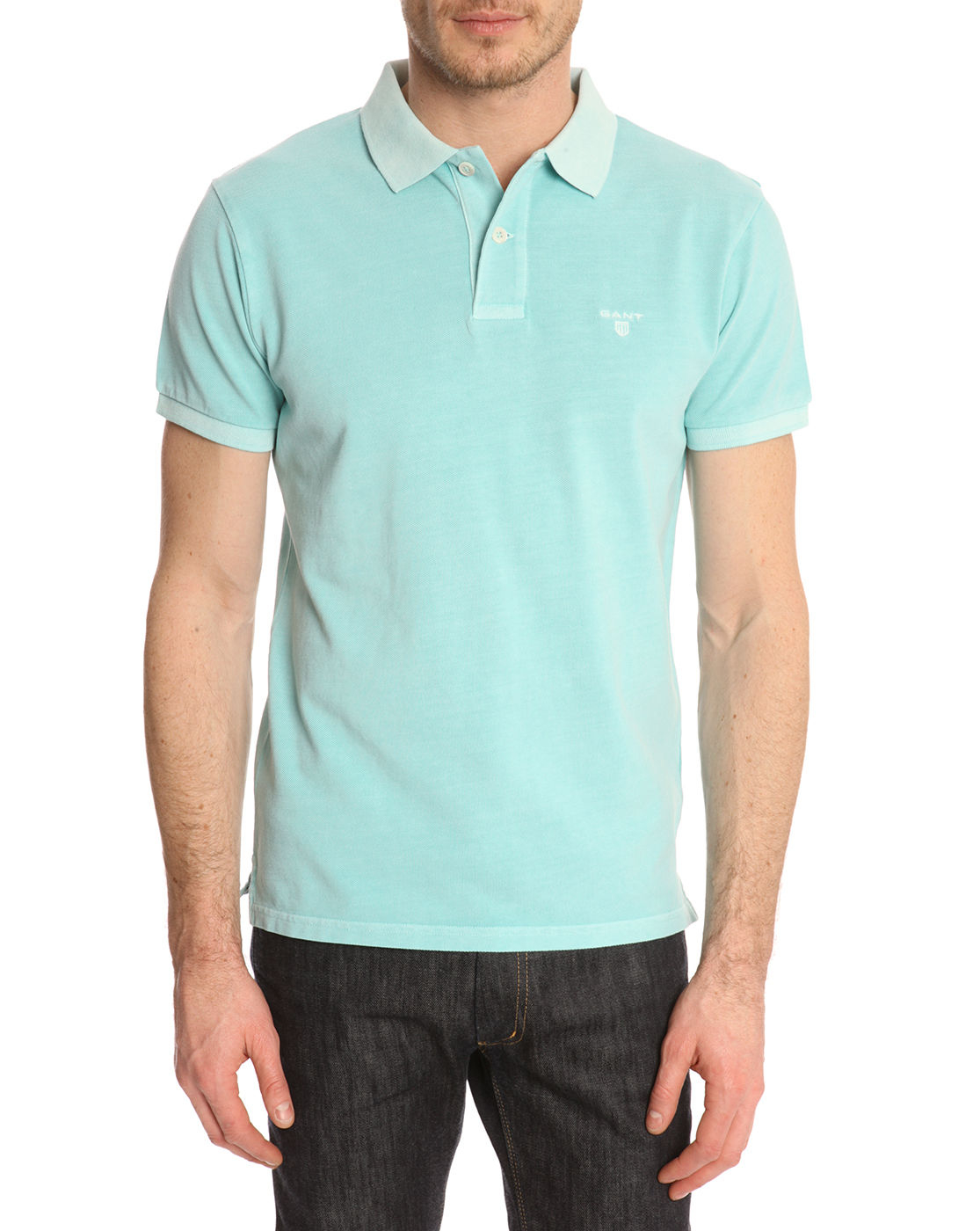 Gant washed mint pique polo shirt in green for men lyst for Mint color polo shirt