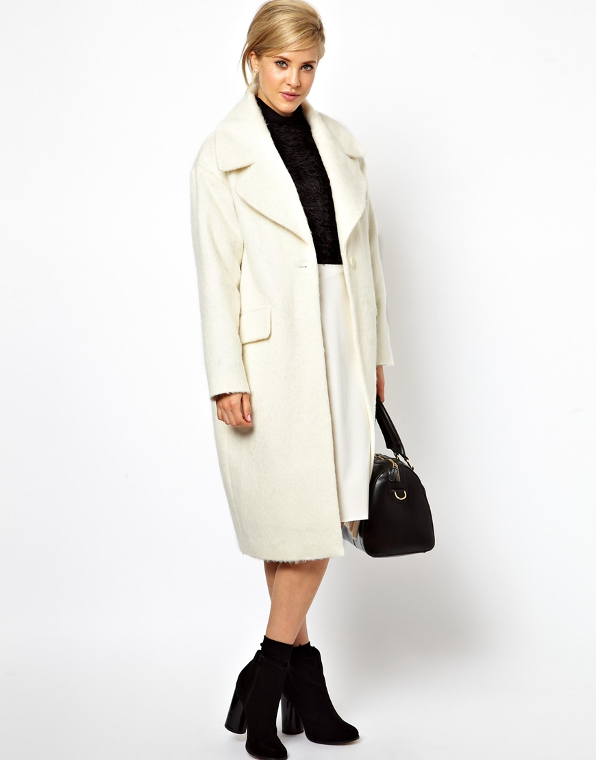 0cfe0c1fa46 Lyst - ASOS Vintage Style Cocoon Coat in White