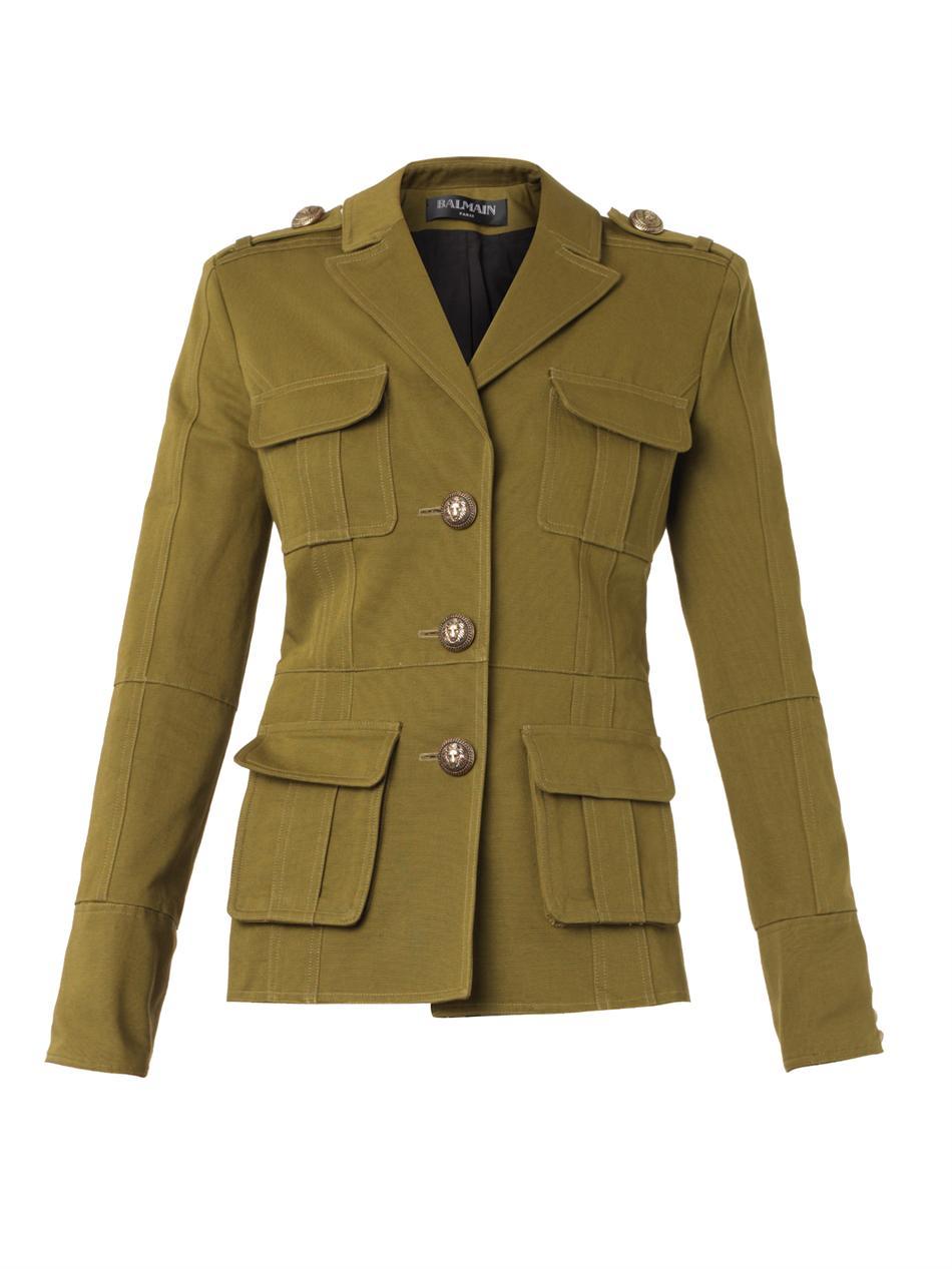 Balmain Gabardine Military Jacket in Green