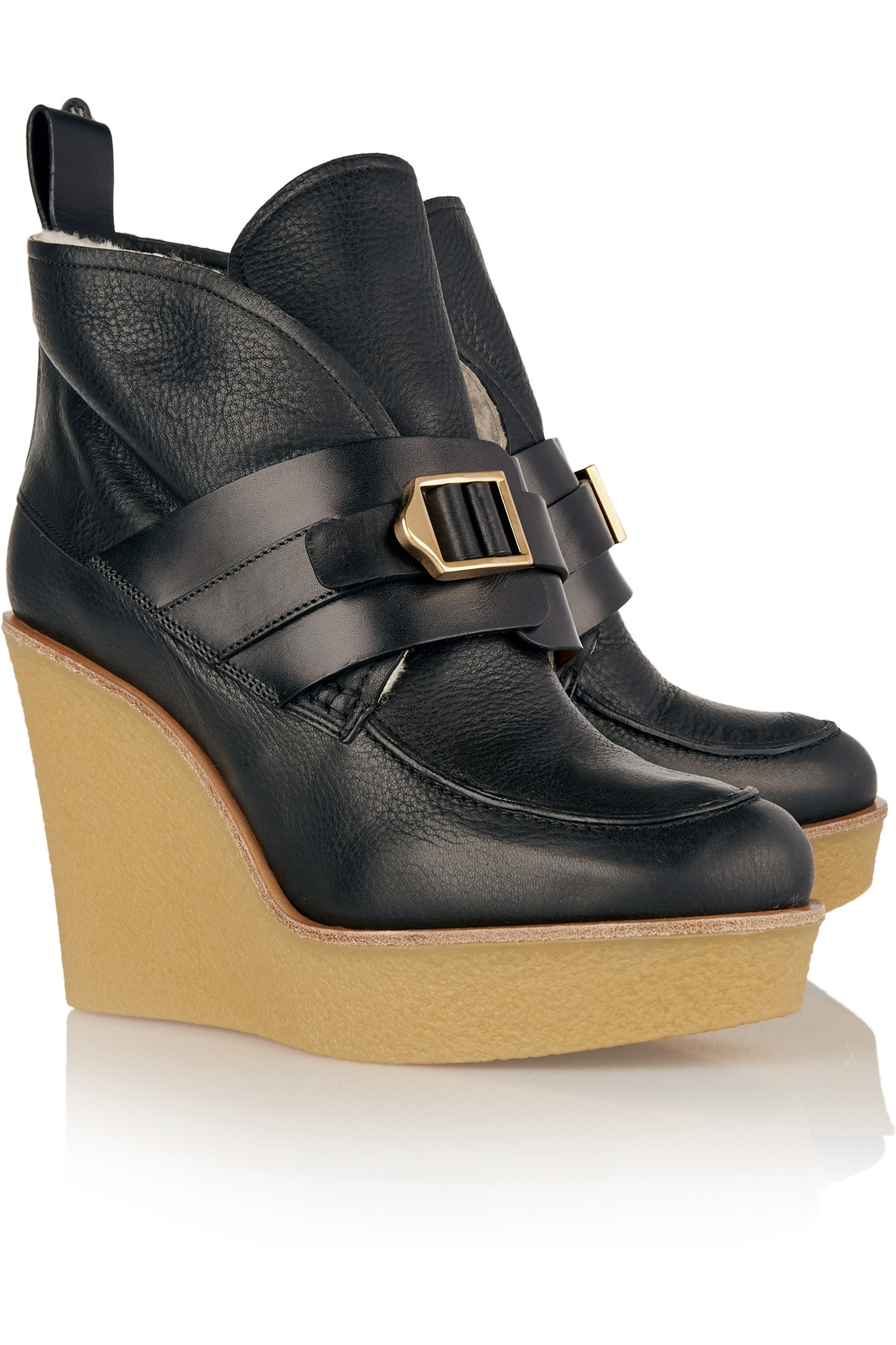 Chloé Shearling-lined Leather Wedge Ankle Boots in Black