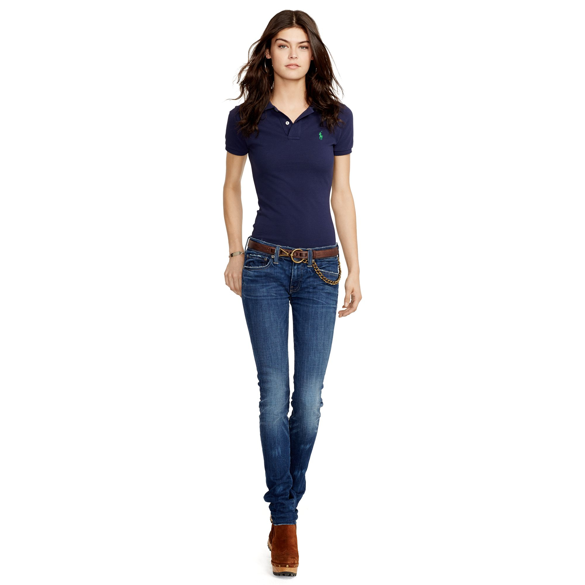 Polo ralph lauren skinny fit polo shirt in blue newport for Polo shirt and jeans