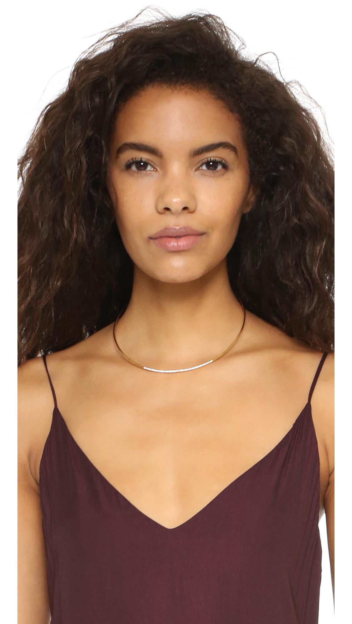 Gorjana Petra Shimmer Collar Necklace - Gold/clear in Metallic