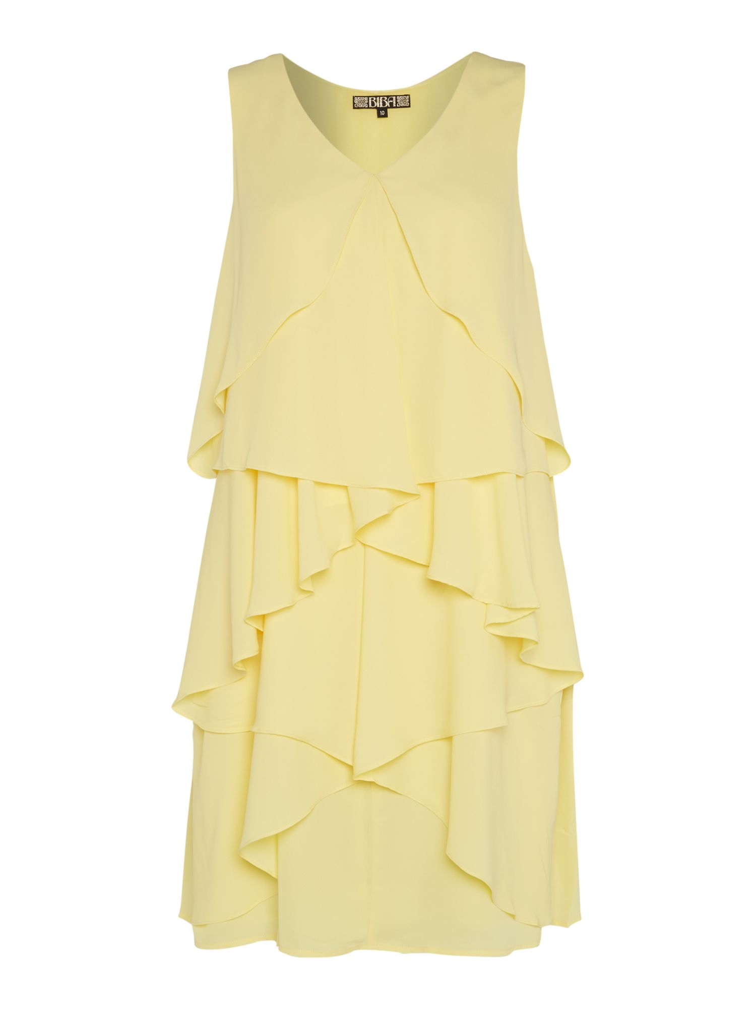 Biba waterfall sleeveless dress in yellow lemon lyst for Waterfall design dress