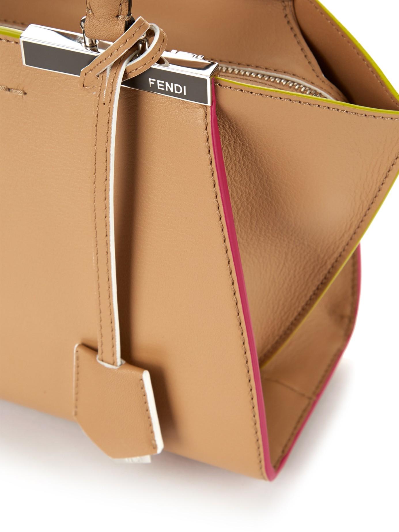 93a3cc4236e Fendi 3Jours Mini Contrast Trim Leather Tote in Natural - Lyst